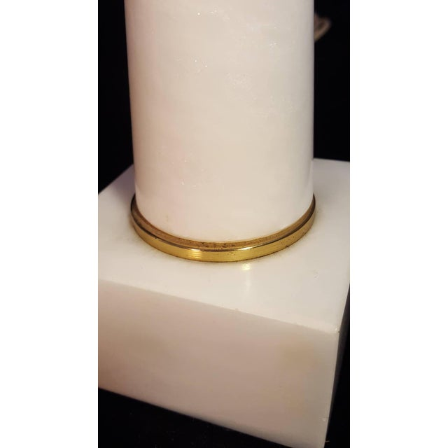 Alabaster 1950s Modernist White Italian Alabaster and Brass Column Boudoir Table Lamps For Sale - Image 8 of 12