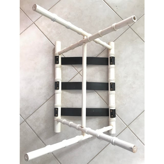 Dorothy Draper Vintage Dorothy Draper Style Faux Bamboo Ivory White Suitcase Luggage Rack For Sale - Image 4 of 11