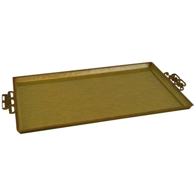 Signed Mid Century Modern Moire Glaze Kyes Enamel Serving Tray w/ Brass Greek Key Handles - Image 1 of 6