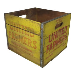 Antique Boston Grocers Fruit & Dairy Wooden Crate Circa 1920s For Sale