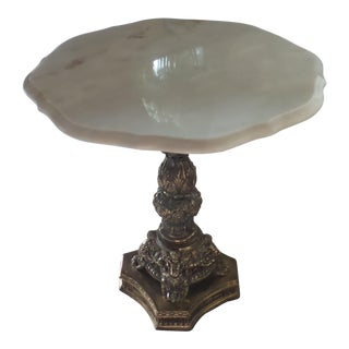 White & Beige Marble Top Table For Sale