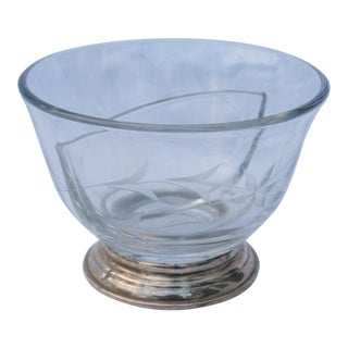 Vintage Etched Glass Bowl With Sterling Silver Base For Sale