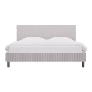 King Tailored Platform Bed in Silver Ticking Stripe For Sale