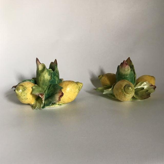Boho Chic Italian Majolica Porcelain Lemon Candle Holders - a Pair For Sale - Image 3 of 11