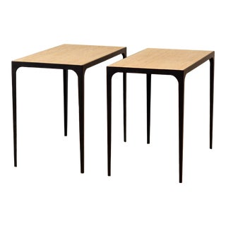 'Esquisse' Grooved Ivory Travertine Side Tables by Design Frères - a Pair For Sale