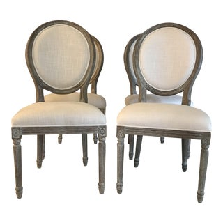 Reproduction Distressed Gray French Chairs - Set of 4
