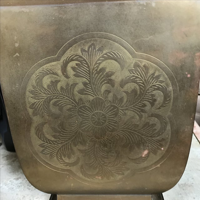 Greek Key Chinoiserie Etched Brass Vase For Sale In Houston - Image 6 of 6