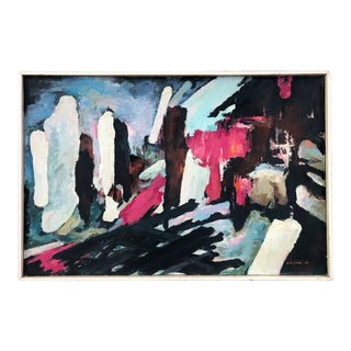 Large Mid-Century Abstract Painting Oil on Board For Sale