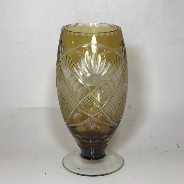 1940s Etched Bohemian Glass Vase Chairish