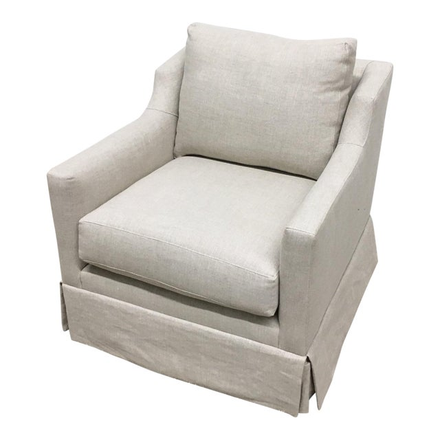 Mitchell Gold + Bob Williams Modern Gigi Skirted Return Swivel Chair For Sale