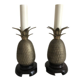 Vintage Small Brass Pineapple Lamps - a Pair For Sale