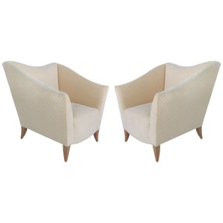 Sculptural Upholstered Club Chairs by Swaim- a Pair For Sale