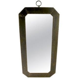 Arts & Crafts Brutalist Copper Framed Mirror For Sale