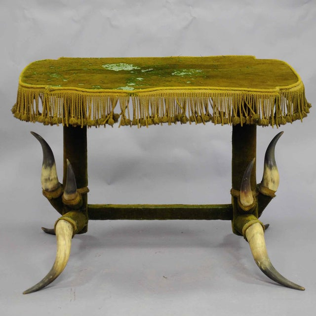 a bull horn table ca. 1870, covered with original green velvet. manufactured in austria ca. 1870. accessoires, ekkbhome,...
