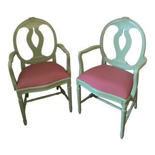 1983 Vintage City Mobler Swedish Gustavian Style Side Chairs - A Pair