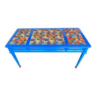 Mid Century Modern Pop Art Electric Blue Desk For Sale