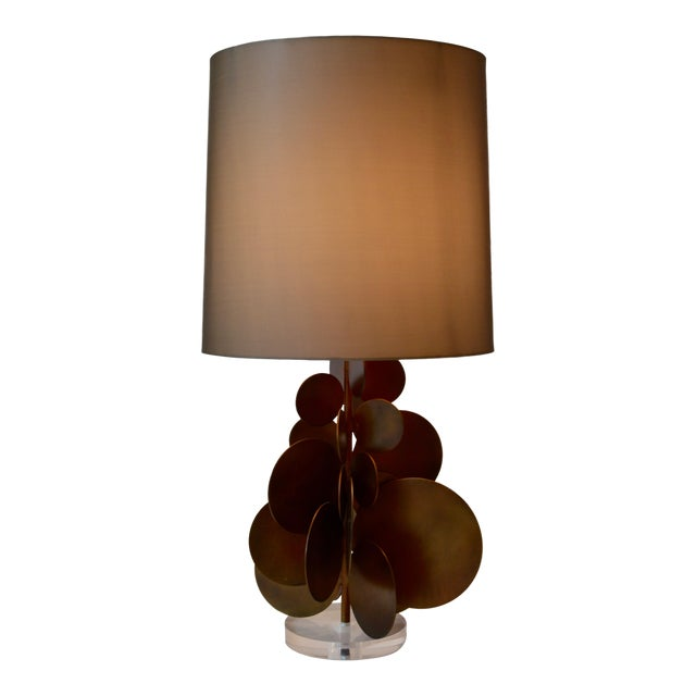 Modern Arteriors Home Brass Disc Lamp With Brown Shade For Sale