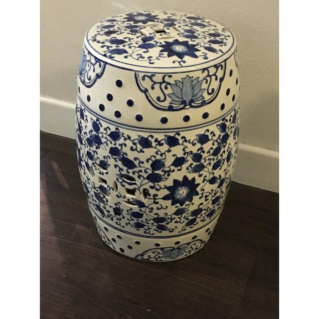 Blue and White Asian Garden Stool - Image 4 of 5