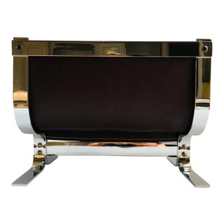 Mid-Century Modern Danny Alessandro Chrome & Leather Log Holder or Magazine Rack For Sale
