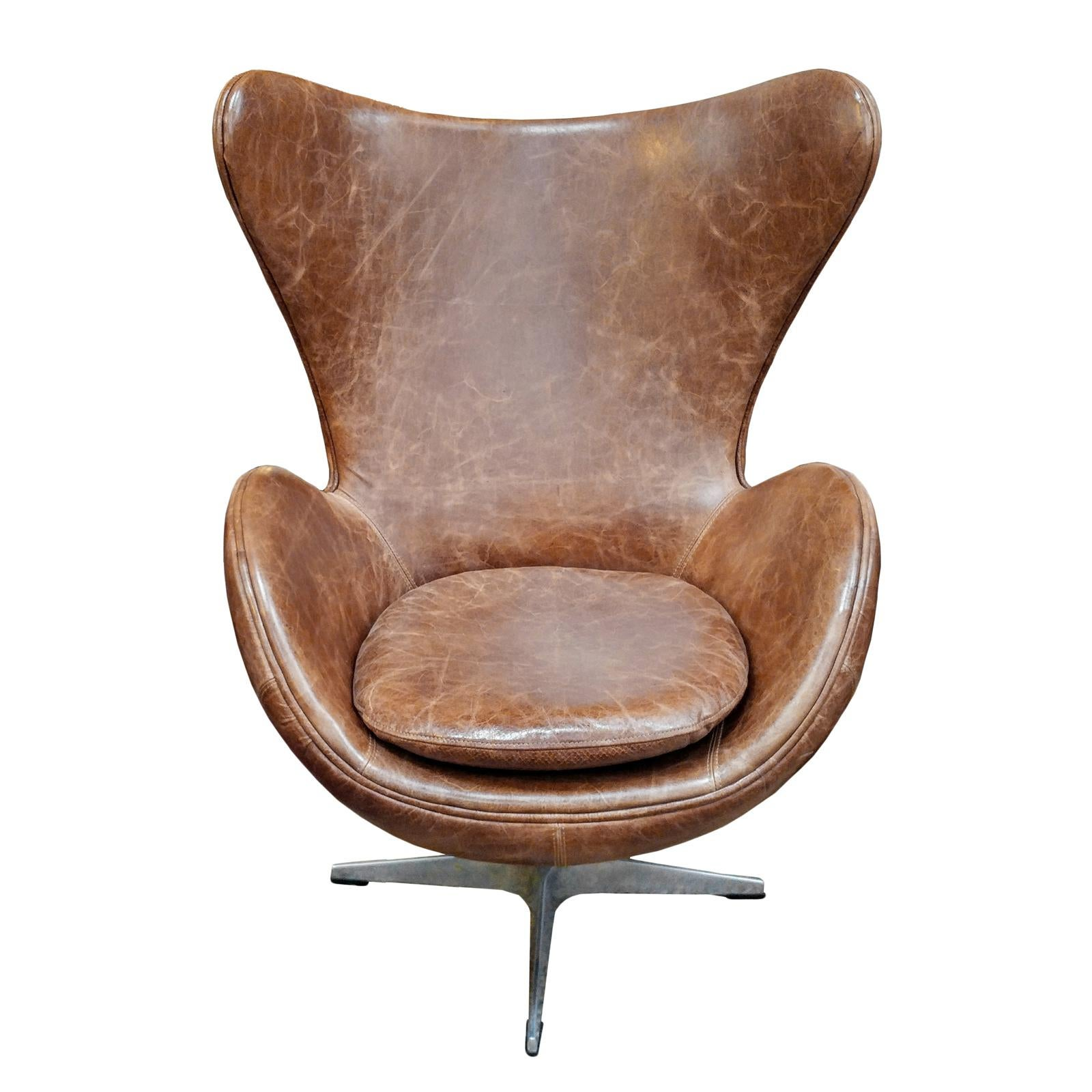 Merveilleux Brown Aged Leather Wingback Chair For Sale   Image 8 Of 8