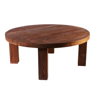 Rustic Round Modern Teak Coffee Table For Sale