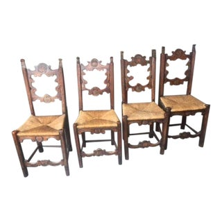 19th Century Antique Portuguese Walnut Hall Chairs