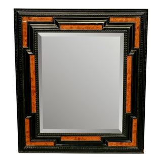 19th Century Dutch Ebonized and Burl Wood Wall Mirror
