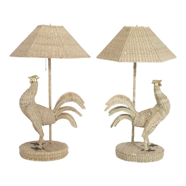 Mario Torres Rooster Table Lamps - A Pair For Sale