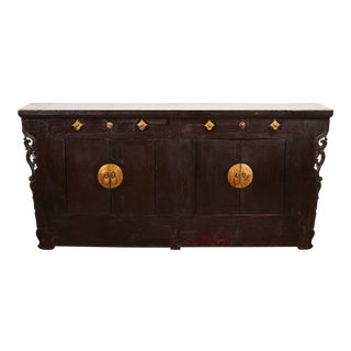 18th Century 2 Drawer 2-Door Cinnabar Narrow Sideboard