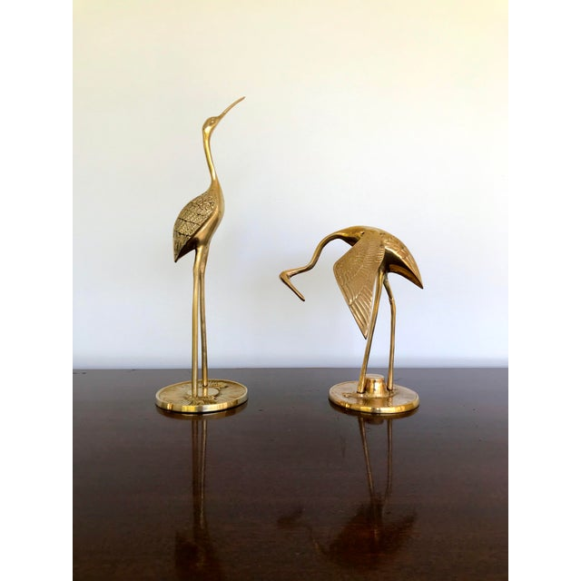 Vintage Brass Cranes - a Pair For Sale - Image 13 of 13