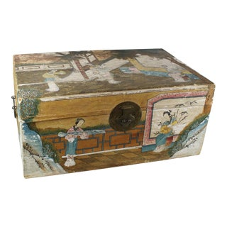 Late 19th Century Antique Chinese Hand-Painted Wedding Trunk For Sale