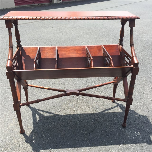 Mahogany Bamboo Chippendale Magazine Table - Image 8 of 10