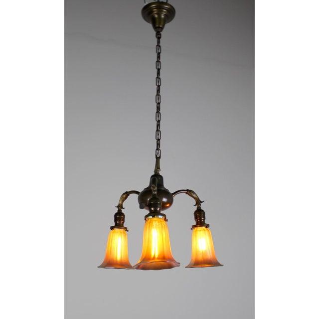 3 Light Art Nouveau Inspired Pendant - Image 5 of 7