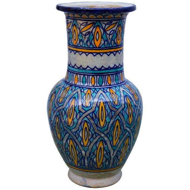 Moroccan Antique Moorish Ceramic Vase For Sale - Image 3 of 8