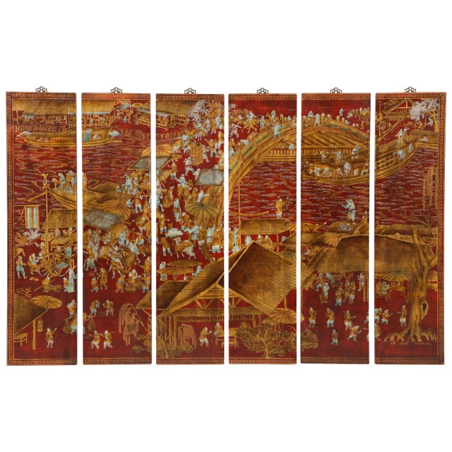 Red Lacquered Chinoiserie Panels - Set of 6 For Sale - Image 13 of 13