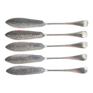 Antique Engraved Silverplate Fish Knives - Set of 5 For Sale
