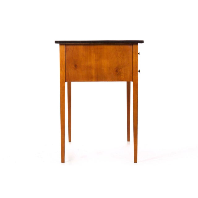 Animal Skin Biedermeier Style Inlaid Fruitwood Writing Table For Sale - Image 7 of 13