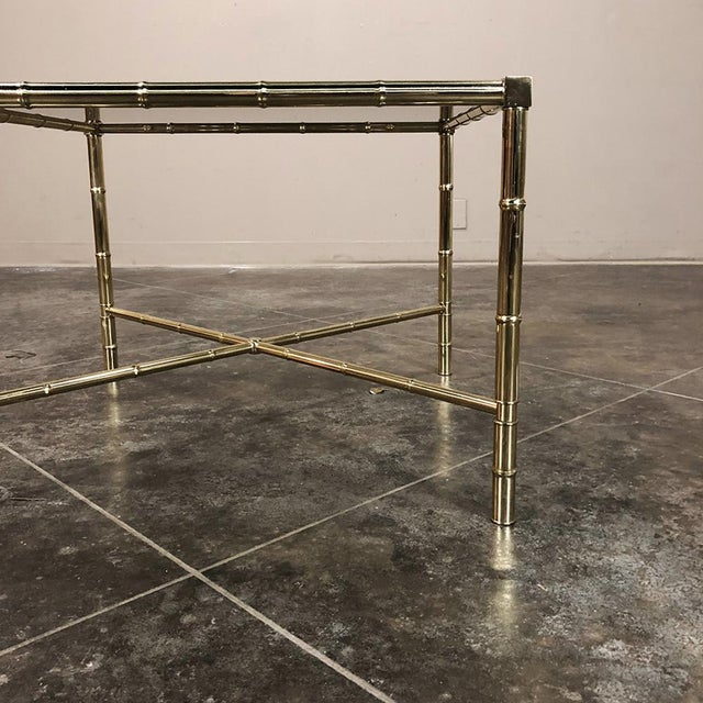 Mid Century Brass Smoked Glass Top End ~ Coffee Table For Sale - Image 11 of 12