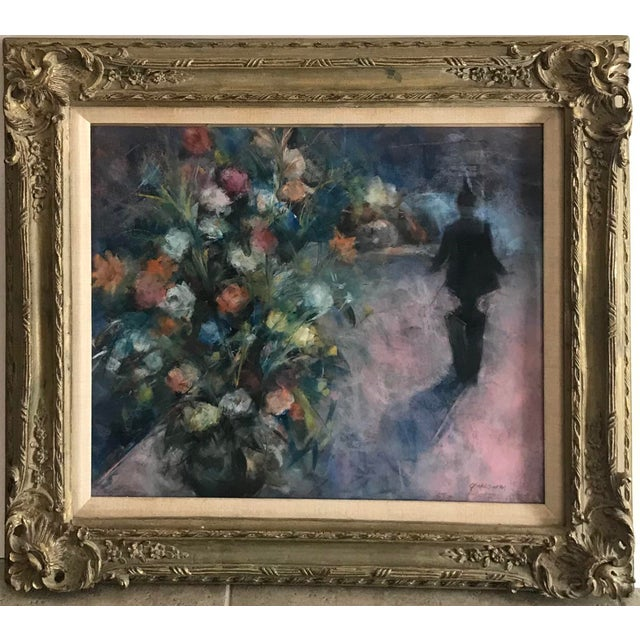 1960s Floral Still Life Mixed-Media Painting Signed S. Grossman, Framed For Sale - Image 9 of 9