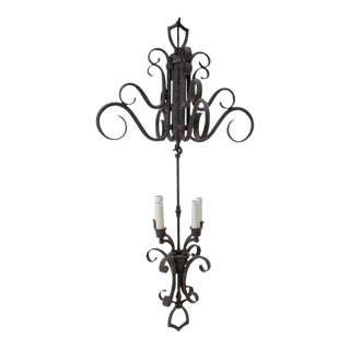 Tall Iron Chandelier Spanish Revival 1970s For Sale