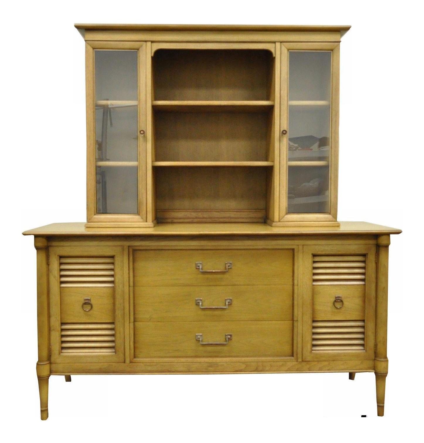 Vintage Drexel Blonde China Cabinet