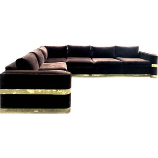 Modern Chrome and Brown Velvet L-Shape Sofa For Sale