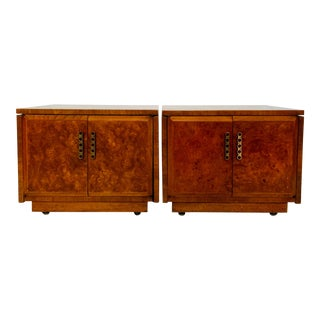 1960s Mid-Century Modern Drexel Heritage Burlwood Expandable Side Tables - a Pair For Sale