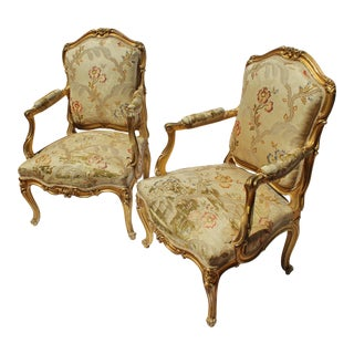 Pr. Of Signed Maison Jansen Arm Chairs Late 19c. Louis XV Style For Sale