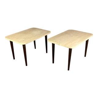 Pair Italian Travertine End Table, Teak Legs, 1960s