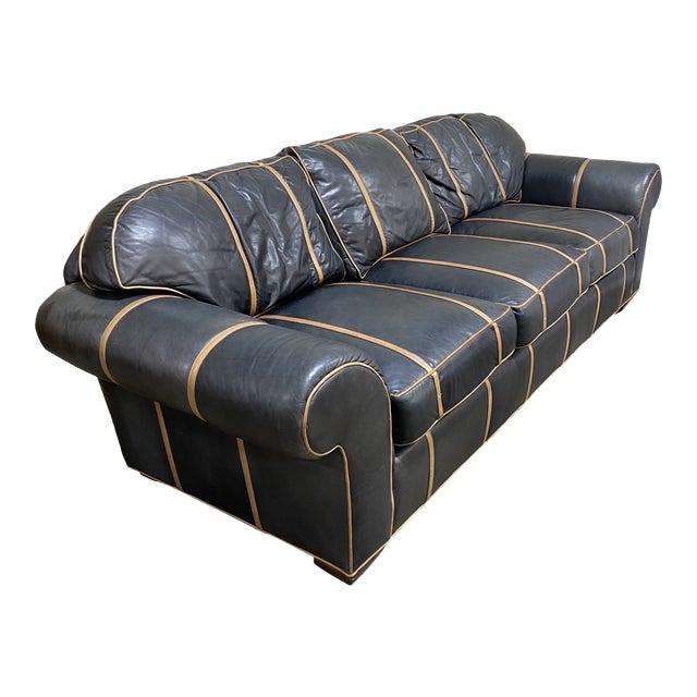 Michael Thomas Onyx Leather Sofa For Sale