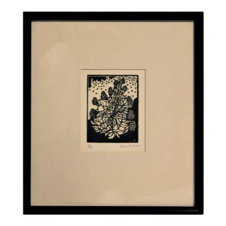 Mid 20th Century Waynelle Davis Abstract Black and White Floral Still Life Lithograph Print, Framed For Sale