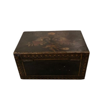 """19th Century Traditional Painted Box """"Augusta M. Beach"""" For Sale"""