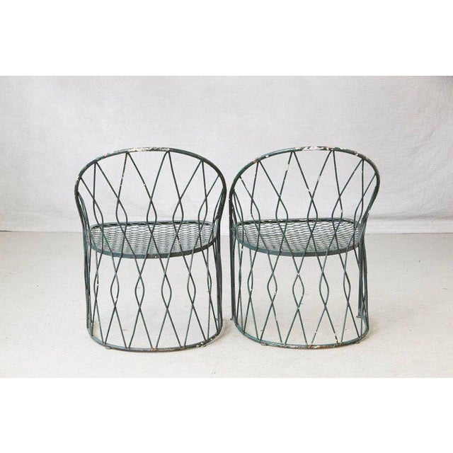 Mid 20th Century Set of Four Salterinini Round Wrought Iron Barrel Back Patio or Garden Chairs For Sale - Image 5 of 9