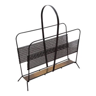 Mathieu Matégot Magazine Racks or Stand or Tray in Black and Brass France, 1950s For Sale